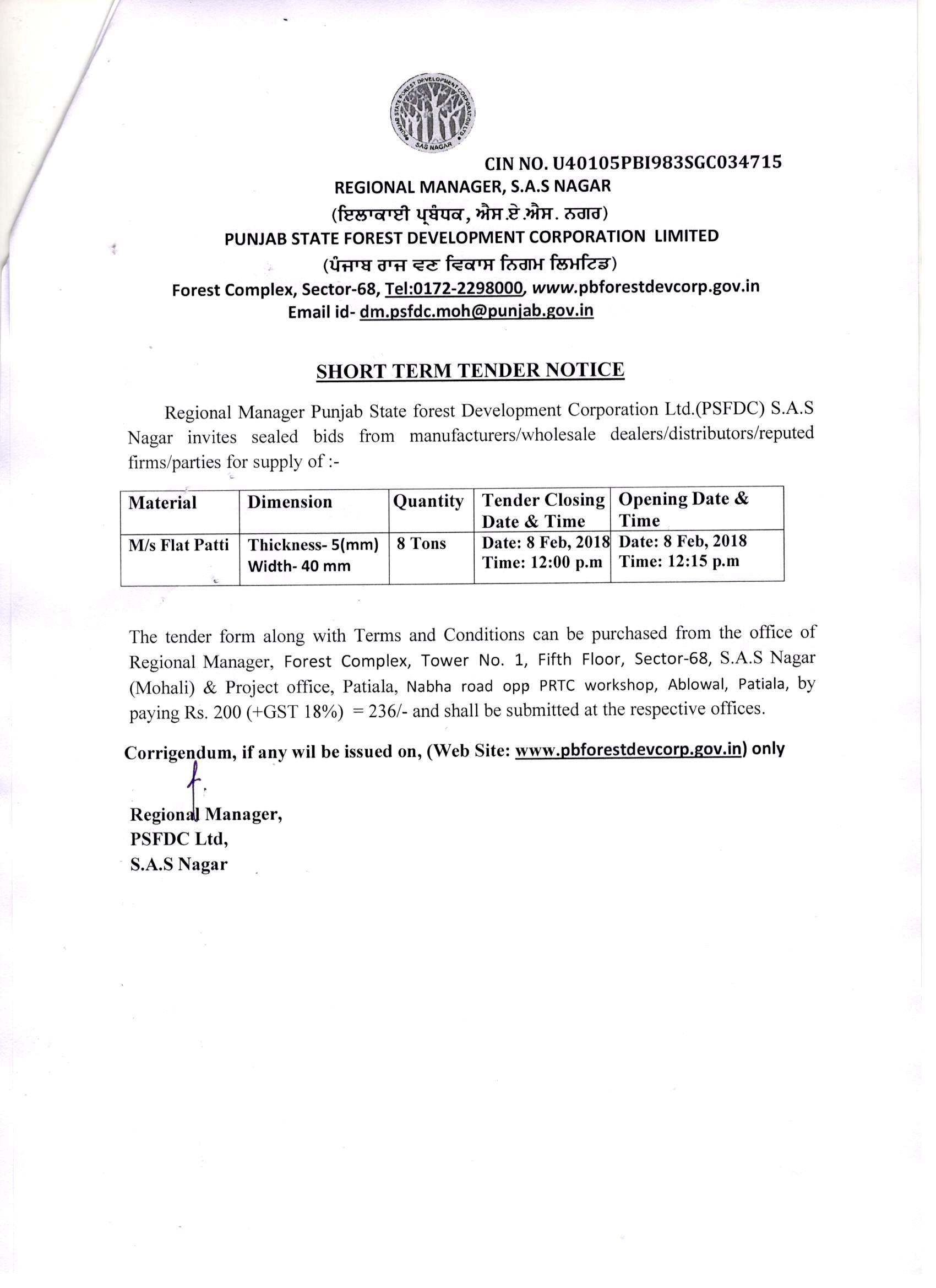 Punjab State Forest Development Corporation Ltd